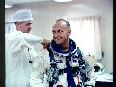 Astronaut Charles Conrad during suiting up exercise