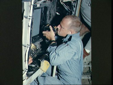 Astronaut Charles Conrad during visual acuity experiments over Laredo