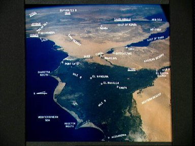 Labeled photograph of the Middle East from Gemini 4