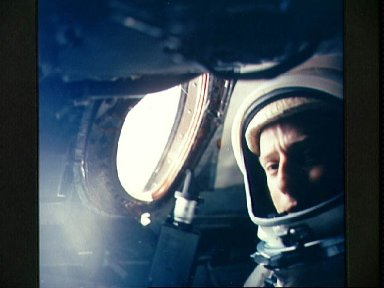 Astronaut Charles Conrad inside the Gemini 5 spacecraft after launch