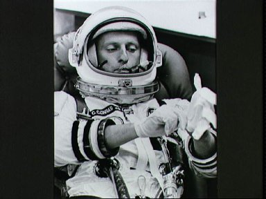 Astronaut Charles Conrad during suiting up on morning of liftoff of Gemini 5