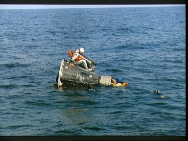 Astronauts Lovell and Borman during water egress training