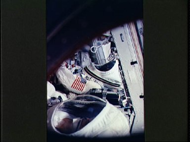 Astronauts Borman and Lovell are seen in Gemini 7 spacecraft