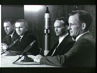Gemini 7 prime crew and backup crew during press conference