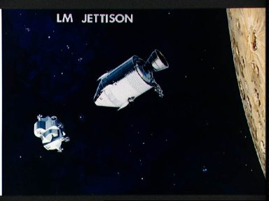 Artist concept of Jettison of Lunar module by Command module before reentry