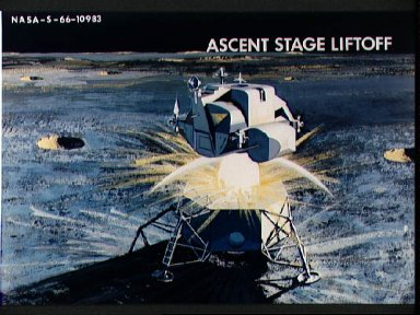 Artist concept of Apollo Lunar modules during Ascent Stage Liftoff