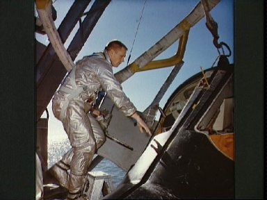 Astronaut Neil Armstrong during water egress training
