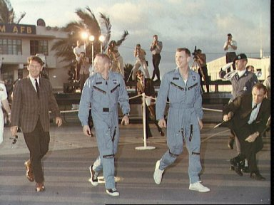 Astronauts Armstrong and Scott arrive at Hickam Field, Hawaii