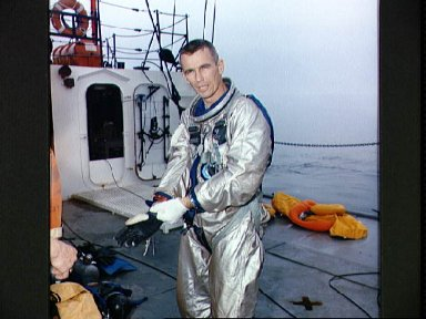 Astronaut Eugene Cernan after suiting up for water egress training