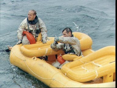 Gemini 11 prime crew during water egress training in Gulf of Mexico