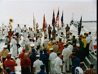 Crew of Gemini 10 talk on live radio during welcoming ceremonies on ship