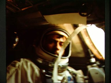 Astronaut John Young photographed inside spacecraft during mission