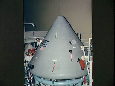 View of Spacecraft 012 Command Module during pre-shipping operations