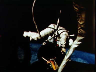 Astronaut Edwin Aldrin performs EVA during second day of mission in space