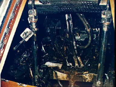 Closeup view of Apollo Spacecraft 012 Command Module after flash fire