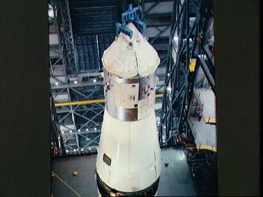 Apollo Spacecraft 017 moved for mating with Saturn V launch vehicle