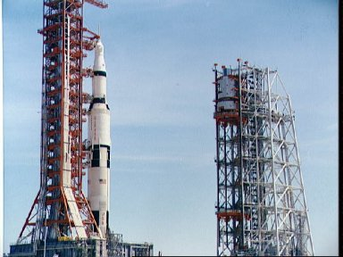 Mobile service structure for Apollo 4 arriving at Pad A, Launch Complex 39