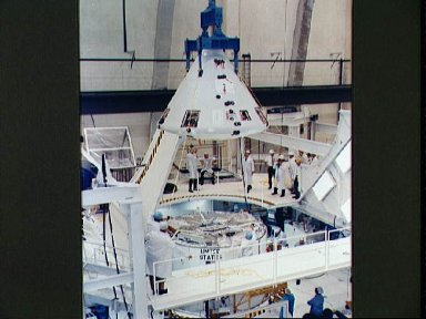 Apollo Spacecraft 020 Command Module readied for mating with Service Module