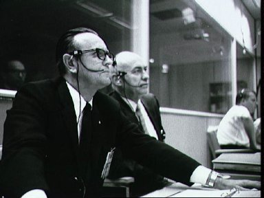 Dr. Gilruth and Dr. Kraft in Mission Control Center during Apollo 5 launch