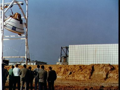 Land impact test of the Apollo Command Module at MSC