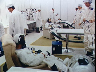 Apollo 7 prime crew goes through suiting up operations prior to launch