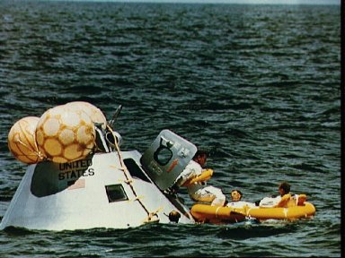 Apollo 7 prime crew during water egress training in Gulf of Mexico
