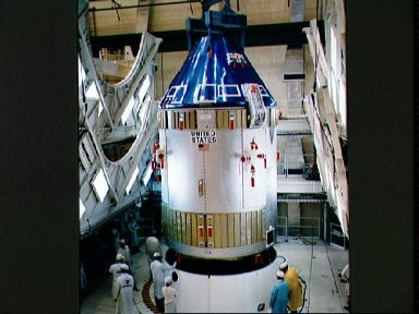 Apollo Spacecraft 101 Command/Service Modules being moved for mating