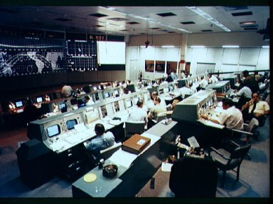 Overall view of Mission Control on first day of Apollo 7 space mission