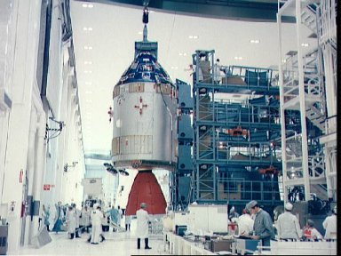 Interior Manned Spacecraft Operations Bldg as Command/Service module moves