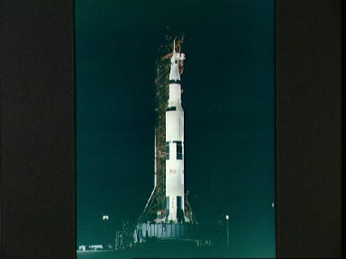 Nighttime view of Apollo 10 space vehicle on Pad B, Launch Complex 39