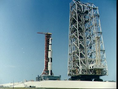 Ground level view of Apollo 10 on Pad B, Launch Complex 39, KSC