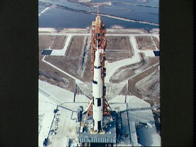 Aerial, high-angle view of Apollo 10 on Pad B, Launch Complex 39, KSC