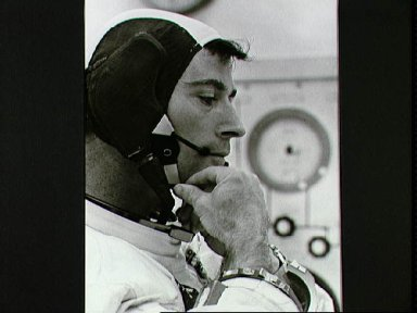Astronaut John Young during final suiting operations for Apollo 10 mission