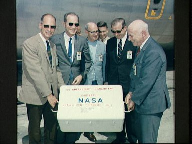 First Apollo 11 sample return containers arrive at Ellington AFB