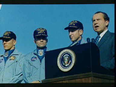 President Nixon speaks at Hickam AFB prior to presenting Medal of Freedom