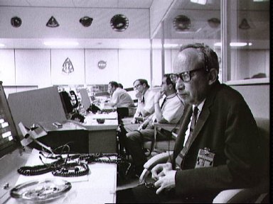 View of Mission Control Center during the Apollo 13 liftoff