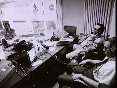 View of Mission Control Center during the Apollo 13 oxygen cell failure