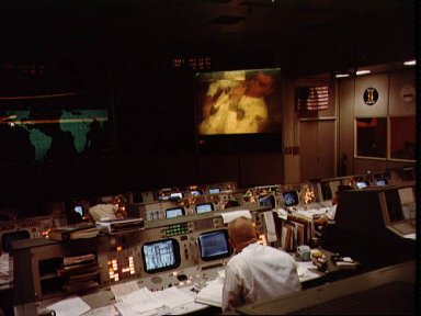 View of Mission Control Center during the Apollo 13 fourth television signal
