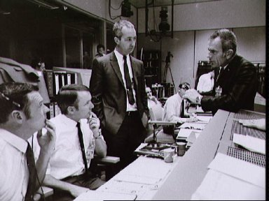 View of Mission Control Center during the Apollo 13 emergency return
