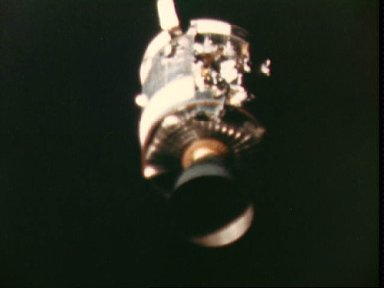 View of damaged Apollo 13 Service Module from the Lunar/Command Modules