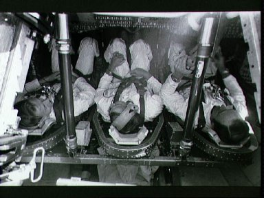 Apollo 14 prime crew during water egress training in the Gulf of Mexico