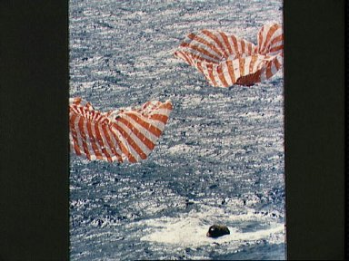 Apollo 14 Command Module approaches touchdown in South Pacific Ocean