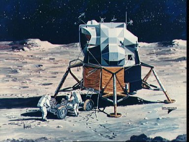 Artist's concept of Apollo 15 crewmen performing deployment of LRV