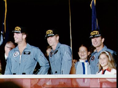 Apollo 15 crew receive welcome on arrival at Ellington Air Force Base