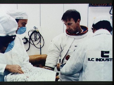 Skylab 2 Astronaut Paul Weitz suiting up at KSC during prelaunch
