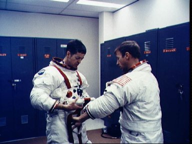 Skylab 2 prime crew suit up during prelaunch training activity