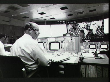Flight Directors Puddy and Shaffer in Mission Control during Skylab 2 launch