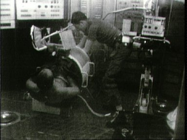 Astronaut Charles Conrad as test subject for Lower Body Negative Pressure