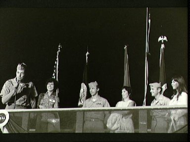 Skylab 2 astronauts at welcome home ceremonies at Ellington AFB