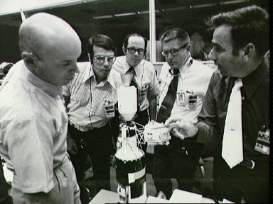 Flight controllers in Mission Control discuss upcoming EVA by Skylab 3 crew